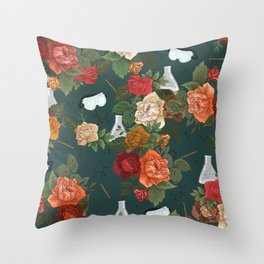 Chemistry Floral Throw Pillow