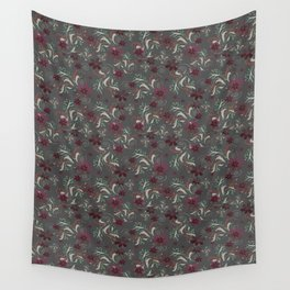 Burgundy flowers on gray Wall Tapestry