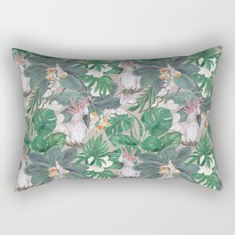 cockatoo birds and ginger, hibiscus flowers Rectangular Pillow