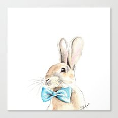 Bunny with a Blue Bow Tie. Watercolor Illustration. Canvas Print
