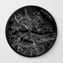 Stockholm Black Map Wall Clock