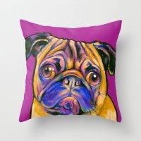 minnie Throw Pillows featuring Minnie Pug by Animal Art By Sarah