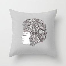her hair Throw Pillow