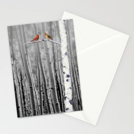 Red Cardinals in Birch Forest A128 Stationery Cards