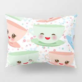 Cute blue pink green Kawai cup, coffee tea with pink cheeks and winking eyes, polka dot background Pillow Sham