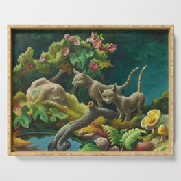 Classical Masterpiece 'Cats - The Brothers' by Thomas Hart Benton Serving Tray