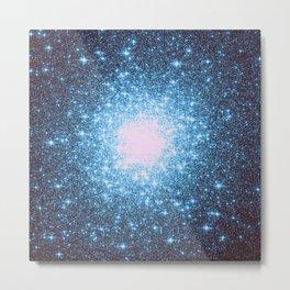 Blue Galaxy Stars Metal Print