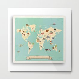 Global Compassion World Map Wall Art on Gallery Wrapped Canvas For Children Metal Print