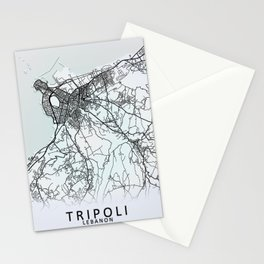 Tripoli, Lebanon, White, City, Map Stationery Cards