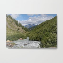 Mountain River Green Woods Alpine Landscape Metal Print