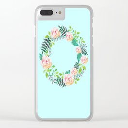 Summer Roses Light Cyan Floral Wreath Opal Pale Turquoise Clear iPhone Case