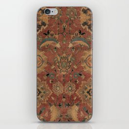 Flowery Boho Rug IV // 17th Century Distressed Colorful Red Navy Blue Burlap Tan Ornate Accent Patte iPhone Skin
