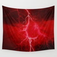 lightning Wall Tapestries featuring Red Lightning  by Madeline M Allen