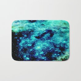 GALAXY. Teal Aqua Stars Bath Mat