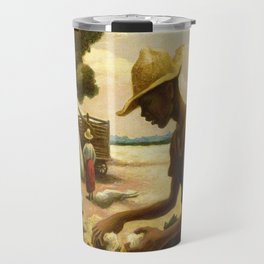 Classical Masterpiece 'Picking Cotton Under the Sun' by Thomas Hart Benton Travel Mug