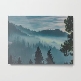 Misty Blue Watercolor Mountains Pine Trees Silhouette Minimalist Monochromatic Photo Metal Print