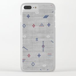 Cactus Silk Pattern in Grey Clear iPhone Case