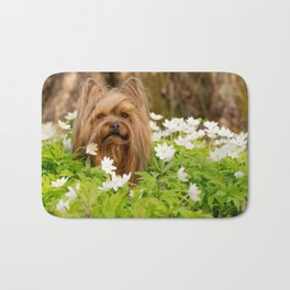 Summer Vibes - Small Yorkie Dog In Spring Forest #decor #society6 #buyart Bath Mat