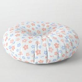 Blue Pink Flower Pattern Floor Pillow