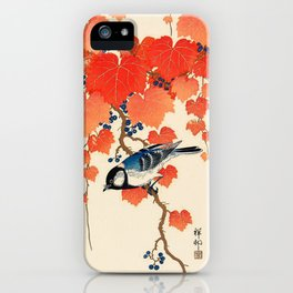 Vintage Japanese Bird and Autumn Grapevine iPhone Case