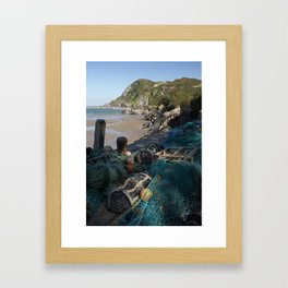 Ilfracombe harbour boats fishing nets and lobster pots. North Devon, UK Framed Art Print