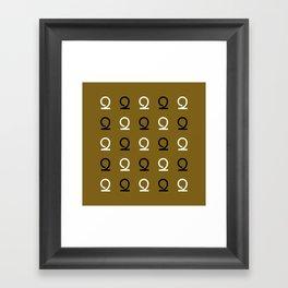 Mocha Script 2 Checkered Pattern Framed Art Print