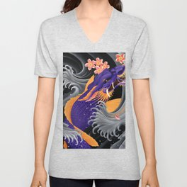 Purple Dragonkoi with Sakura Unisex V-Neck