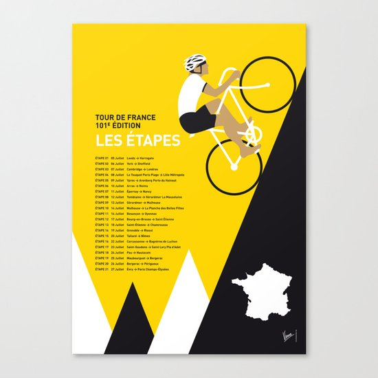 MY TOUR DE FRANCE MINIMAL POSTER 2014-ETAPES Canvas Print