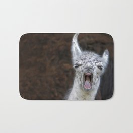 Young Lama with a big mouth | Junges Lama mit grosser Klappe Bath Mat
