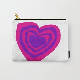 Purple Pink Heart Design Carry-All Pouch