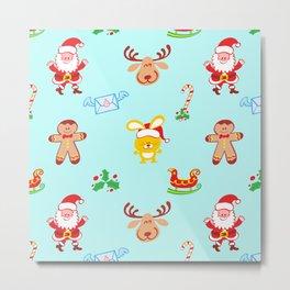 Cute Santa Claus, reindeer, bunny and cookie man Christmas pattern Metal Print