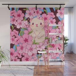 Ferret with sakura Wall Mural