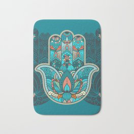 Hamsa Hand of Fatima, good luck charm, protection symbol anti evil eye Bath Mat