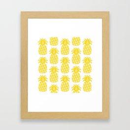 Retro Mid Century Modern Pineapple Pattern Yellow Framed Art Print