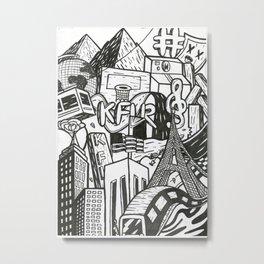 Black and White Graffiti Style Wall Art Metal Print