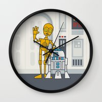 c3po Wall Clocks featuring EP4 : C3PO & R2D2 by Jason Yang