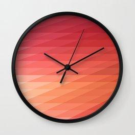 Fig. 044 Coral, Pink & Peach Geometric Diagonal Stripes Wall Clock
