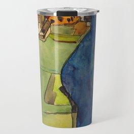 "Egon Schiele ""Stadt am blauen Fluss (Town on the blue river)"" Travel Mug"
