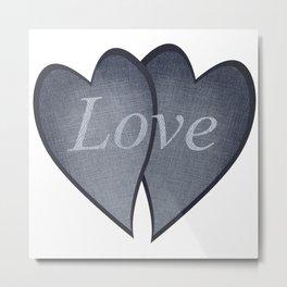 Loving hearts - denim photocollage Metal Print