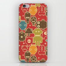 Robots on red. iPhone & iPod Skin