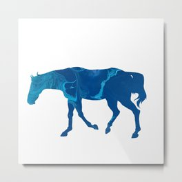 Dark Blue Marble Thoroughbred Horse Silhouette Metal Print