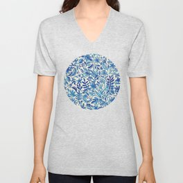 Floating Garden - a watercolor pattern in blue Unisex V-Neck