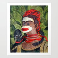 Frida Kahlo as a Sock Monkey Art Print