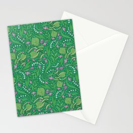 Lilies of the valley and crocuses on green background Stationery Cards