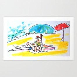 À la plage Art Print