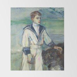 """Henri de Toulouse-Lautrec """"L'Enfant au chien, fils de Madame Marthe et la chienne Pamela-Taussat"""" Throw Blanket"""
