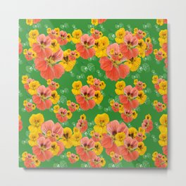 Floral pattern overload - yellow and  green Metal Print