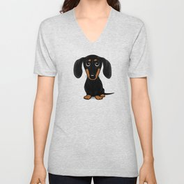 Black and Tan Dachshund | Cute Cartoon Wiener Dog Unisex V-Neck