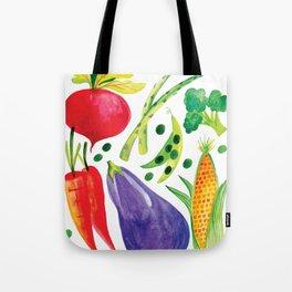 Veg Out - Vegetable, Veggies, Watercolor, Food, Beet, Carrot, Pea Tote Bag