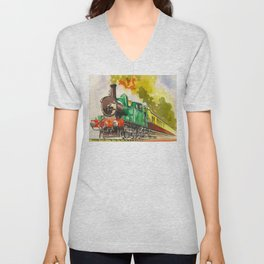 Vintage Mid Century Travel Poster British Railways Steam Engine Watercolor Illustration Unisex V-Neck